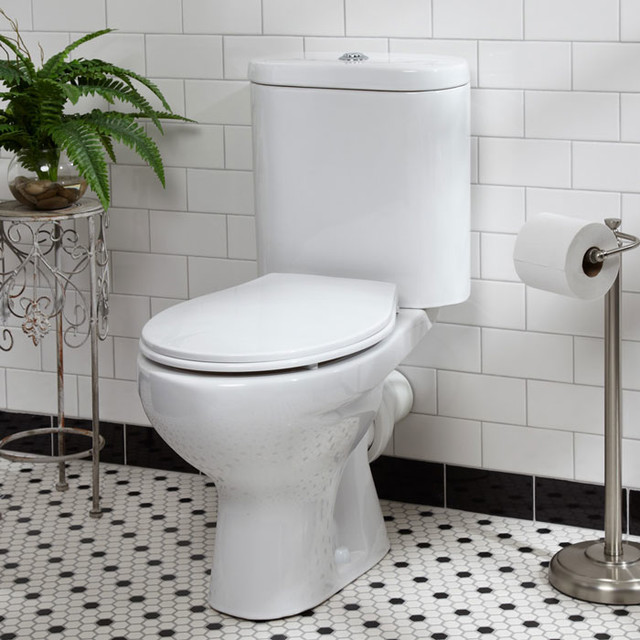 Burdett Dual Flush European Rear Outlet Toilet Two Piece White