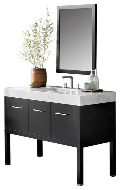 """Bathroom Vanity Black calabria wooden vanity set, black, 48"""" - contemporary - bathroom"""