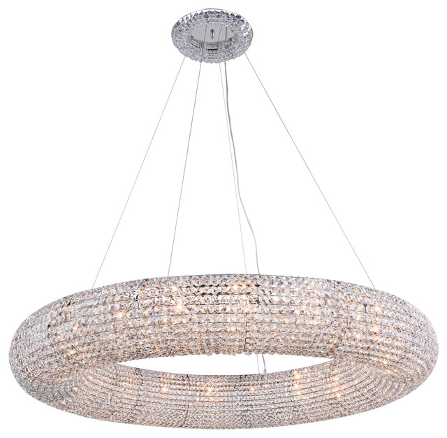 """Crystal Halo 20-Light 52"""" Chrome Crystal Chandelier, Without LED Bulbs"""