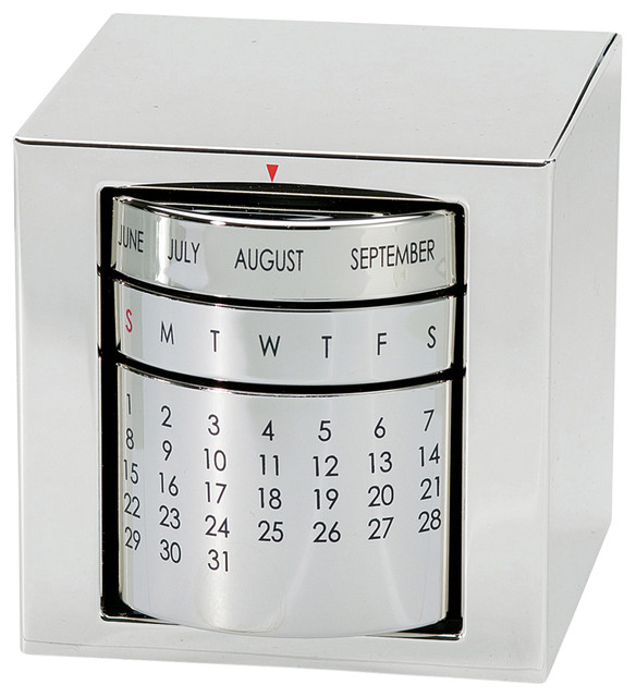 Perpetual Calendar Polished Silver Contemporary Desk