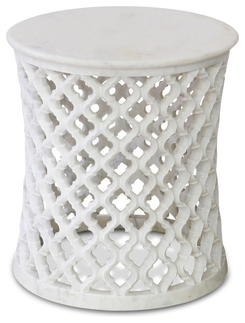 mamounia global bazaar white marble fretwork round side table eclectic side tables and end. Black Bedroom Furniture Sets. Home Design Ideas