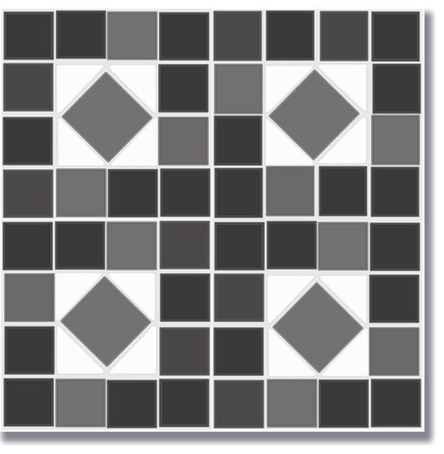 """12""""x12"""" Flooradorn Black And White Mosaic Tiles, Set Of 24."""