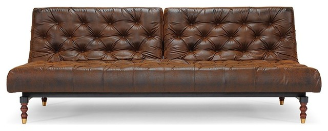 Innovation living chesterfield vintage style leather sofa for Traditional leather sofa bed