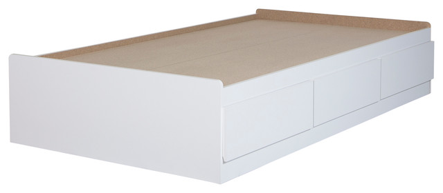 "South Shore Fusion Twin Mates Bed 39"" With 3 Drawers, Pure White."