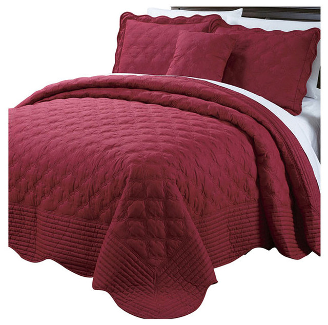 Quilted Cotton 4 Piece Bedspread Set, Burgundy, King