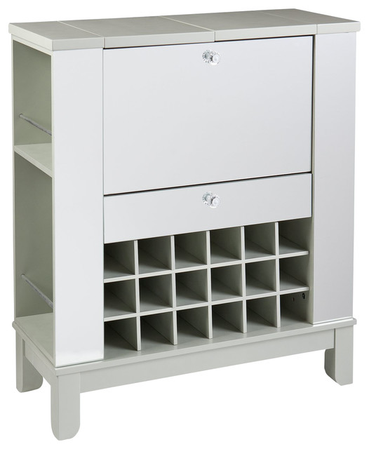 Southern Enterprises Inc Mirage Mirrored FoldOut Wine Bar Cabinet - Contemporary - Filing ...