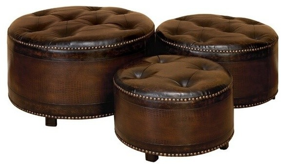 Round Leather Ottoman Footstools Set of 3 Dark Brown transitional- footstools-and  sc 1 st  Houzz & Round Leather Ottoman Footstools Set of 3 Dark Brown ... islam-shia.org
