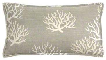 Coastal Gray Coral Lumbar Pillow Set Beach Style