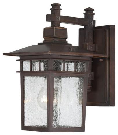 Outdoor Wall Light With Clear Glass, Rustic Bronze Finish