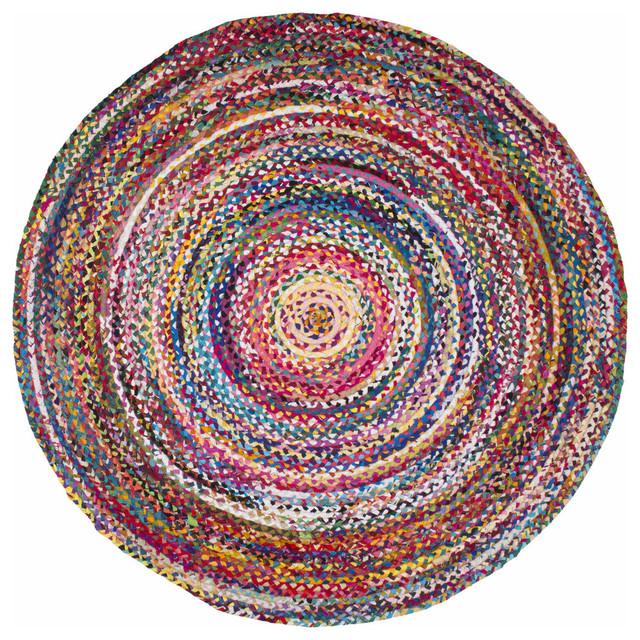 Casual Handmade Braided Cotton Area Rug, Multi, 6'x6' Round