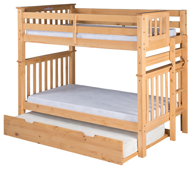 Santa Fe Mission Tall Bunk Bed Twin Over Twin, End Ladder, Twin Trundle,