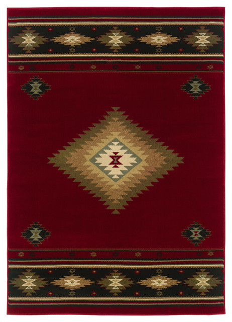 "Harrison Southwest Lodge Red and Green Rug, 5'3""x7'6"""