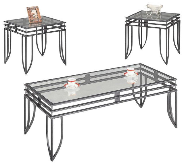 Coaster 3 Piece Occasional Set Black Contemporary Coffee Table Sets By Homesquare
