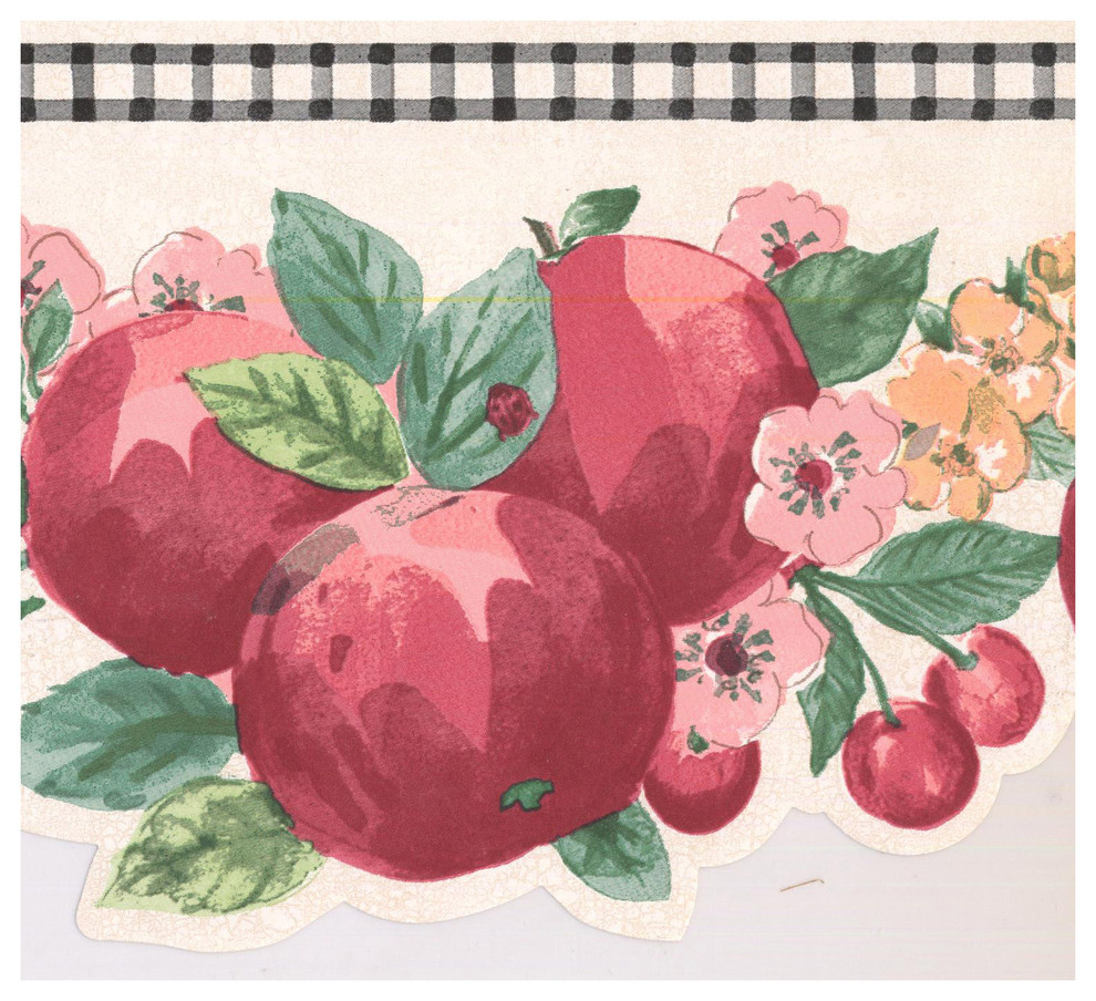 Prepasted Wallpaper Border Red Apple Strawberry Cherry Scalloped