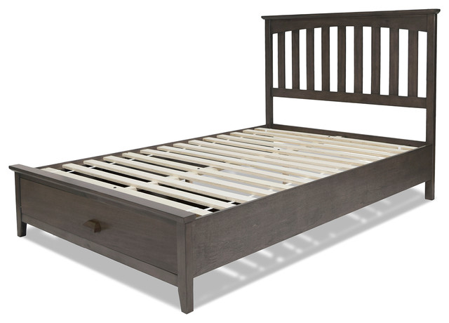 Hampton Storage Bed With Solid Wood Frame And Footboard Drawer