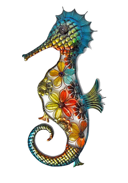 Seahorse Wall Art acrylic beaded flower seahorse wall decor - beach style - outdoor