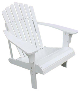 TruePower   Weatherproof Wooden Adirondack Outdoor Patio Lounge Chair With  Cup Holder, White U0026 Reviews | Houzz