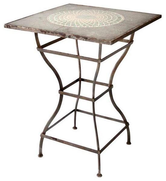 Vintage Mosaic Tall Patio Table