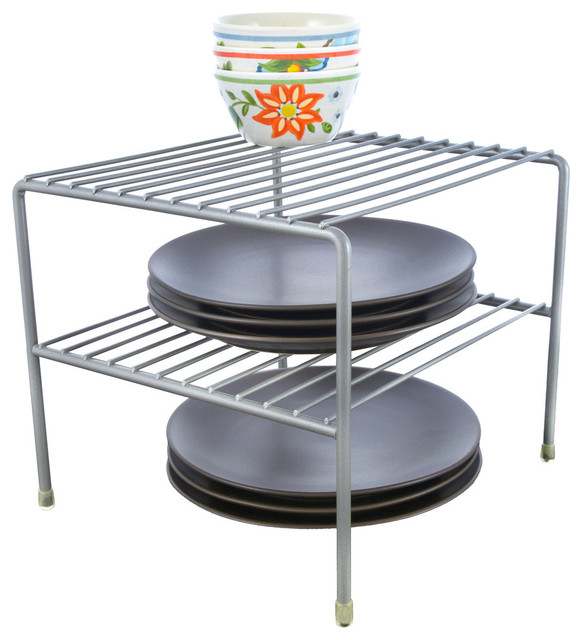 Kitchen Cabinet Double Shelf, Nickel.