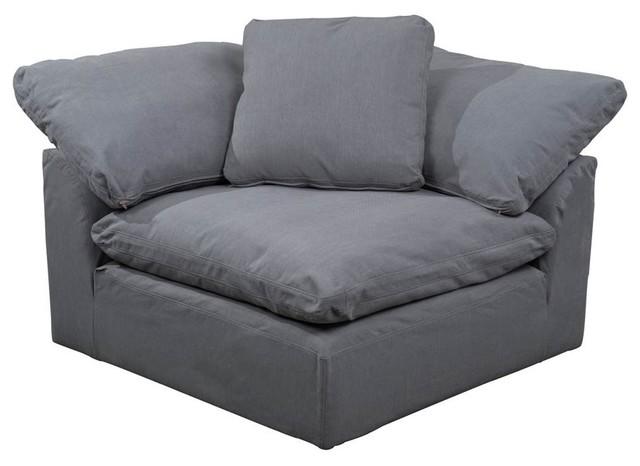 Slipcovered Arm Chair| Modular Corner Sofa Sectional Performance Fabric Gray