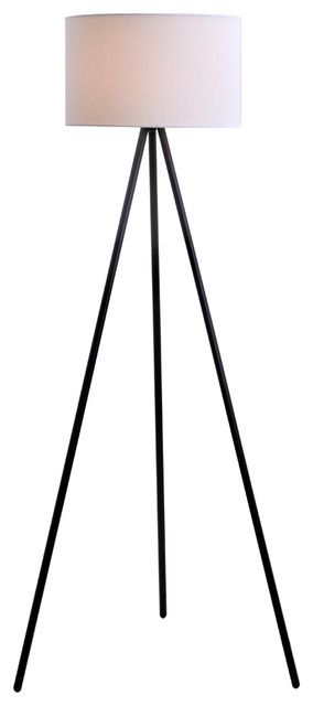 Alonso Tripod Floor Lamp With Linen Shade.
