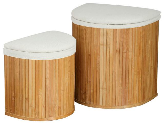 Bamboo Laundry Baskets, Set Of 2.