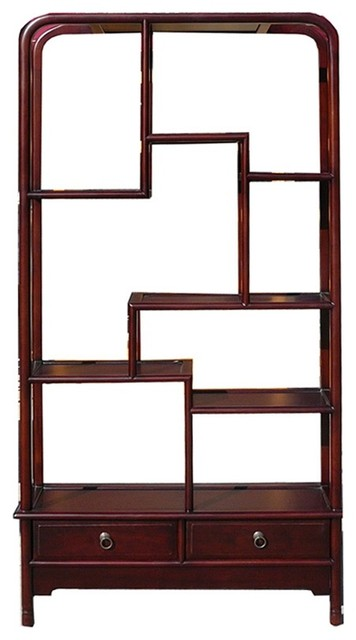 Genial Chinese Oriental Mahogany Uneven Open Curio Display Cabinet