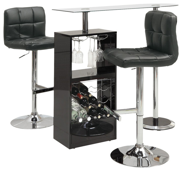 Glass Top Stemware Storage Wine Rack Bar Table And Stools, 3 Piece Set,