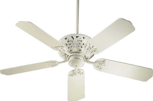 "Quorum Windsor 52"" Ceiling Fan, Antique White."
