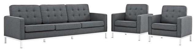 Modway Loft 3-Piece Fabric Sofa Set, Gray.