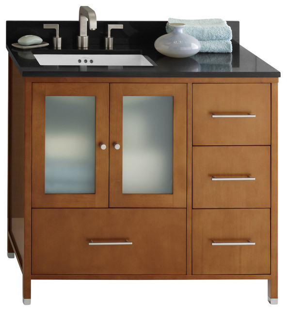 "Solid Wood Bathroom Vanities Cabinets ronbow juno solid wood 36"" vanity cabinet base, cinnamon, doors on"