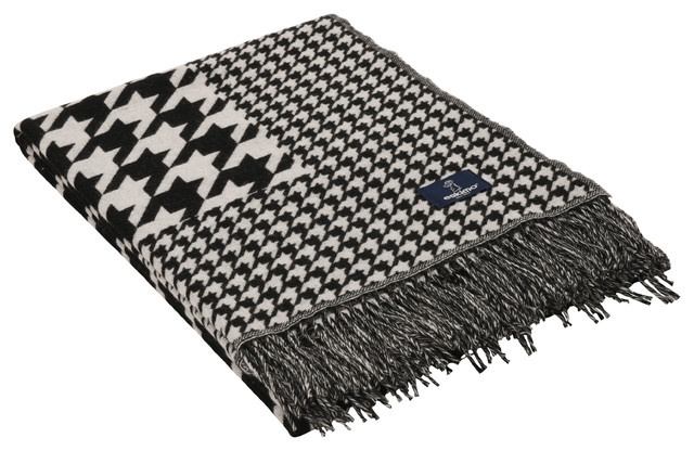 Silver Houndstooth Throw, Black and White