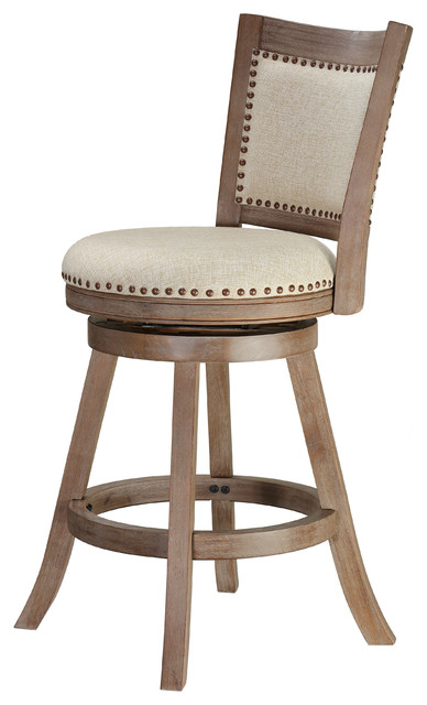 Cortesi Home Marko Counter Stool Beige Fabric Swivel Seat With Back 24 Seat Transitional Bar Stools And Counter Stools By Cortesi Home