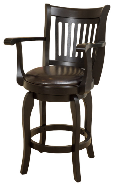 Brook Armed Espresso Leather Swivel Counter Stool