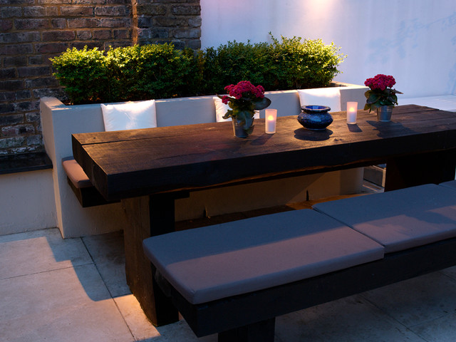 dining area railway sleeper bench seat asian london. Black Bedroom Furniture Sets. Home Design Ideas