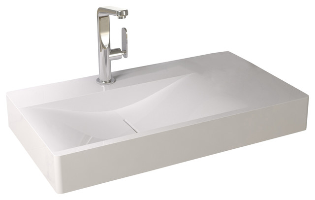 solid surface bathroom sinks shop houzz adm solid surface resin wall hung sink 20595