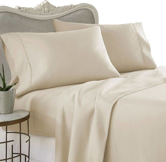 Elegant 600 Thread Count Egyptian Cotton Solid Bed Sheet Set, Twin, Beige