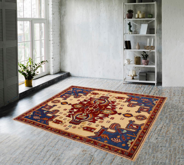 Beige Blue Hand Knotted Wool Rug