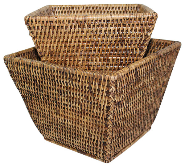 Rattan Flower Baskets : Houzz hudson vine rattan square flower baskets