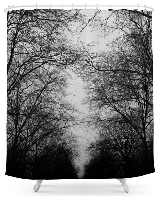 Society6 Black and White Trees Shower Curtain contemporary-shower-curtains - Society6 Black And White Trees Shower Curtain - Contemporary