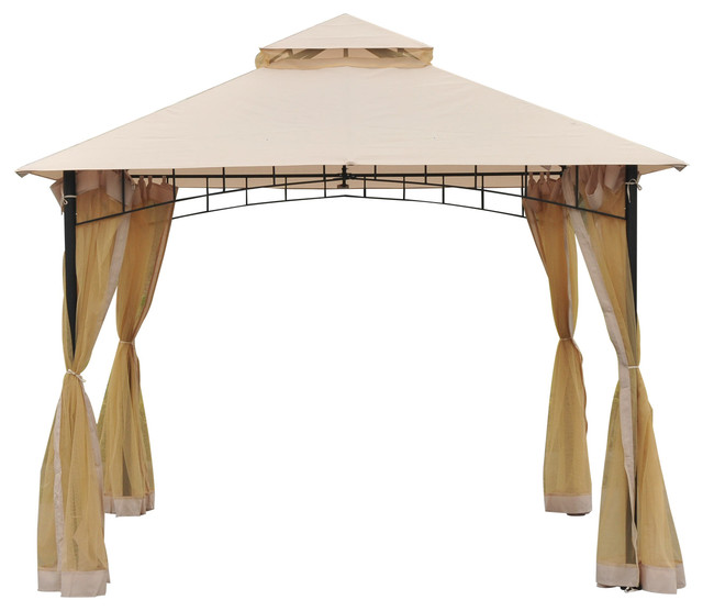 Outsunny 10x10 Steel Outdoor Garden Gazebo With Mosquito Netting ...