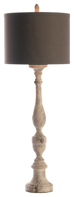 Sarah French Country Antique Wood Tall Table Lamp.