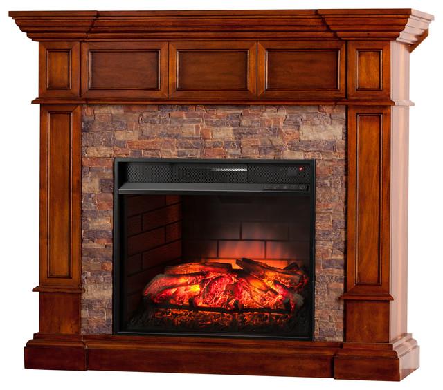 Xerick Faux Stone Corner Infrared Fireplace, Buckeye Oak.