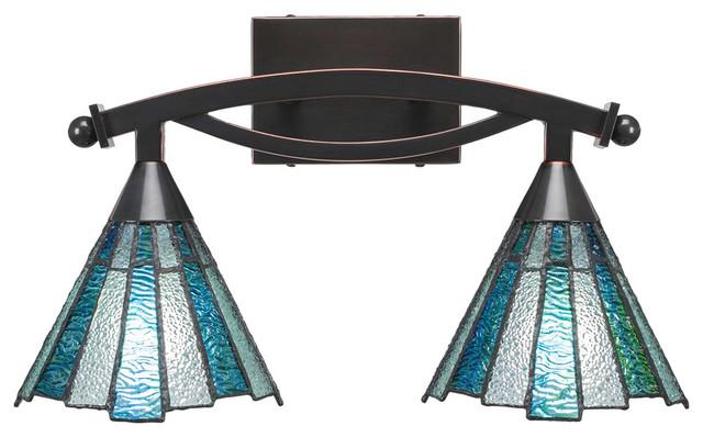 "Bow 2-Light Bath Bar, Bronze Finish with 7"" Sea Ice Art Glass, Black Copper"