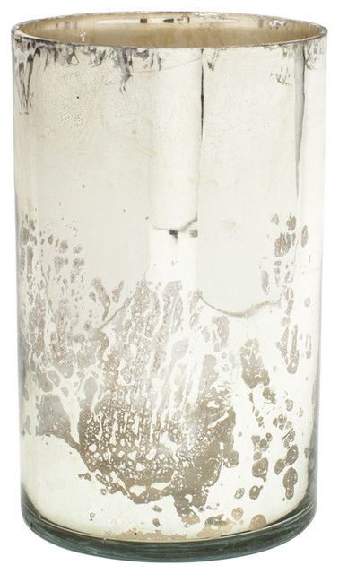 Mercury Glass Cylinder Silver Contemporary Vases By Serene Spaces Living