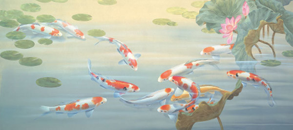 Peaceful pond mural pr4031 asian wallpaper by the for Asian mural wallpaper
