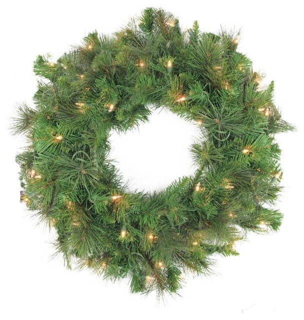 "60"" Pre-Lit Led Canyon Pine Artificial Christmas Wreath,  Clear Lights."