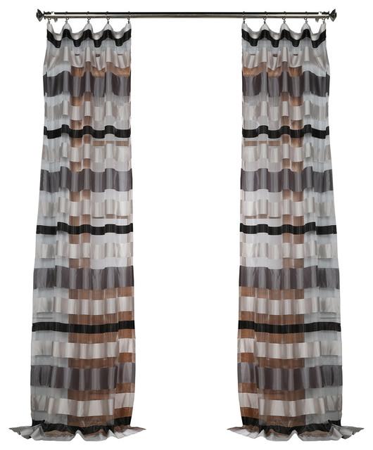 "Cloudburst Gray Organza Horizontal Stripe Sheer Curtain Single Panel, 50""x96""."