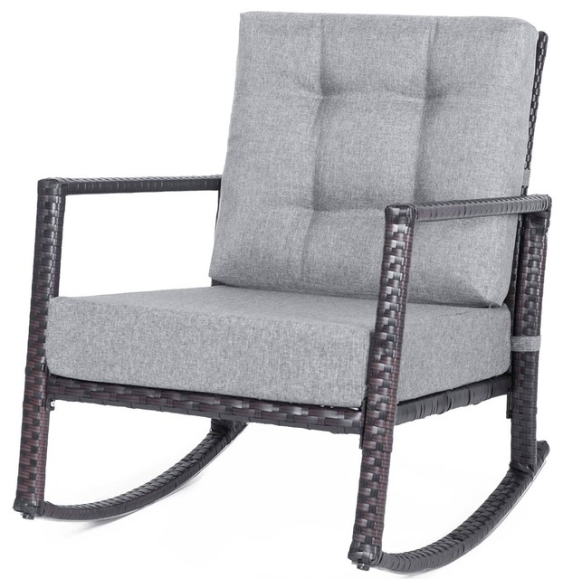 Awe Inspiring Mid Century Grey Fabric Cushioned Rattan Rocking Chair Armchair Chairs Gmtry Best Dining Table And Chair Ideas Images Gmtryco