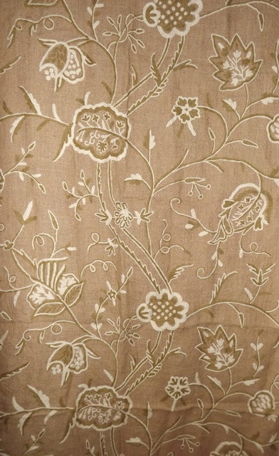 Crewel Drape Lotus White on Natural Brown Jute - Traditional ...